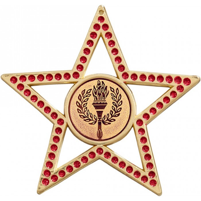 75MM RED STAR MEDAL - VICTORY TORCH - GOLD, SILVER, BRONZE